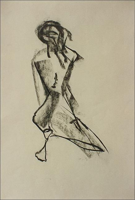 Drawing-Mona Kneeling